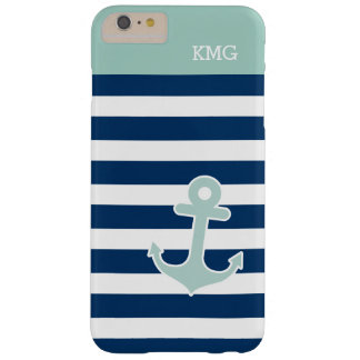 Cute Anchor Monograms in Trendy Mint Navy Stripes Barely There iPhone 6 Plus Case