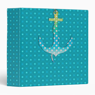 Cute Anchor On Abstract Blue Ornaments Ring Binder