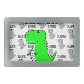 Cute and Angry T-Rex With Black And White Pattern Belt Buckles