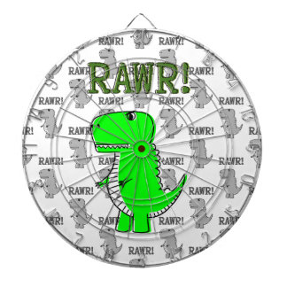Cute and Angry T-Rex With Black And White Pattern Dartboard With Darts