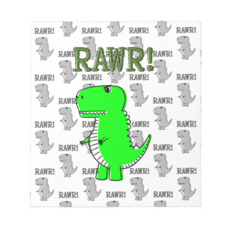 Cute and Angry T-Rex With Black And White Pattern Notepad