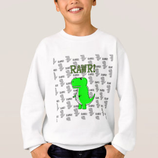 Cute and Angry T-Rex With Black And White Pattern Sweatshirt