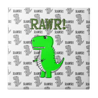Cute and Angry T-Rex With Black And White Pattern Tile