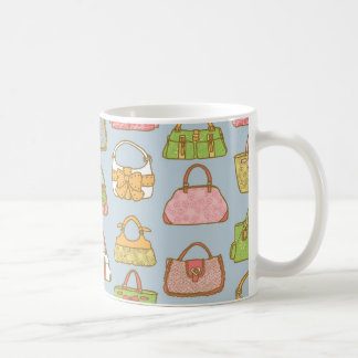 Cute and Colorful Bags Illustration Pattern (Blue) Coffee Mug