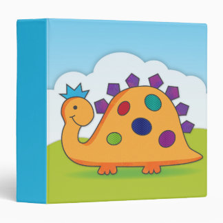 Cute and colorful cartoon spotted dinosaur binder