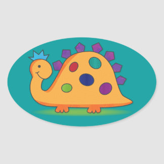 Cute and colorful cartoon spotted dinosaur stickers