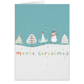 Cute and colorful Christmas card with snowman