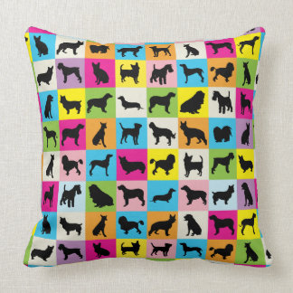 Cute and Colorful Dog Silhouettes Patchwork Throw Pillow