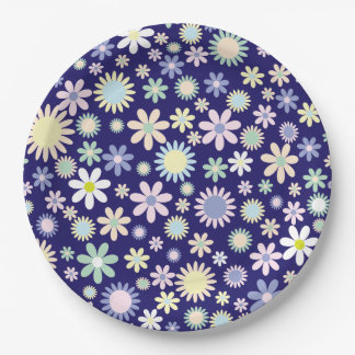 Cute and colorful flower blossoms on paper plates