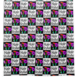 CUTE AND COLORFUL HAIR STYLIST SHOWER CURTAIN