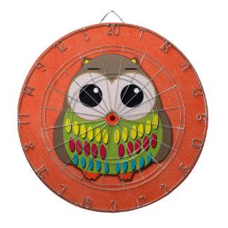 Cute and Colorful Owl Orange Dartboard