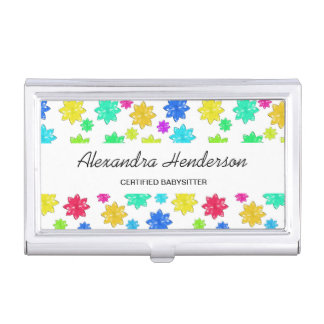 Cute and Colorful Stars Babysitter Child Care Case For Business Cards