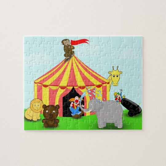 Cute and Colourful Circus Animals Cartoon Puzzle
