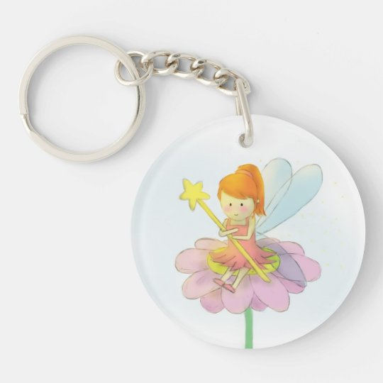 Cute and Colourful Fairy Double-Sided Round Acrylic Keychain