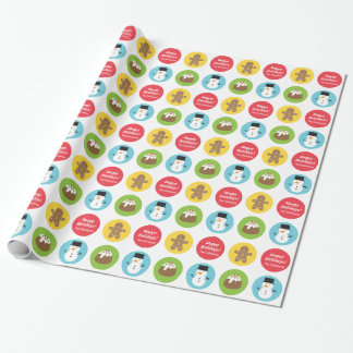 Cute and Colourful Merry Christmas Pattern Wrapping Paper