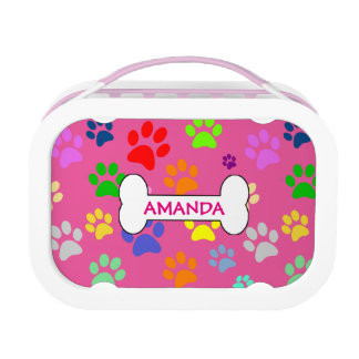 Cute and Colourful Pet Paw Prints Pattern Monogram Lunch Box