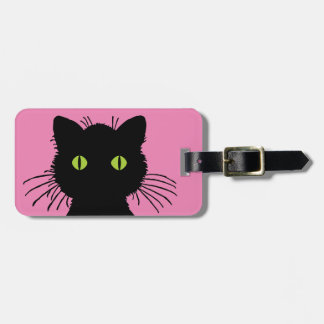 Cute and Curious Black Cat with Large Green Eyes Luggage Tag