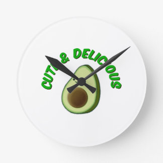 Cute And Delicious Avocado Round Clock