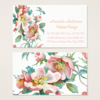 Cute and elegant pink wild roses business card