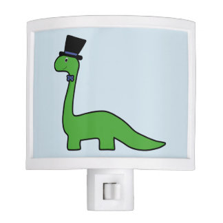 Cute and Fancy Green Dinosaur with Top Hat Nite Lights