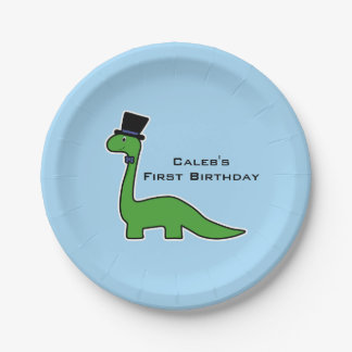 Cute and Fancy Green Dinosaur with Top Hat Paper Plate