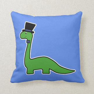 Cute and Fancy Green Dinosaur with Top Hat Throw Pillow