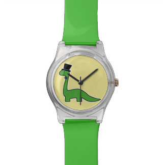 Cute and Fancy Green Dinosaur with Top Hat Watch