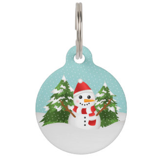 Cute And Festive Snowman With Pet's Info Christmas Pet Name Tag