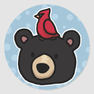 Cute and Friendly Bear and Cardinal Round Sticker