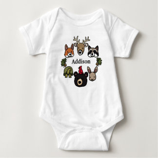 Cute and Friendly Forest Animals, Add Child's Name Baby Bodysuit