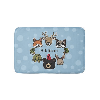 Cute and Friendly Forest Animals, Add Child's Name Bathroom Mat