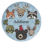 Cute and Friendly Forest Animals, Add Child's Name Plate