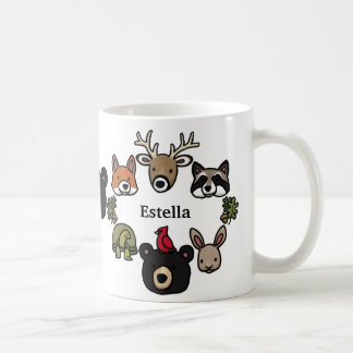 Cute and Friendly Forest Animals, Add Your Name Coffee Mug