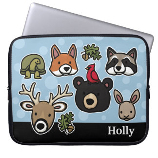 Cute and Friendly Forest Animals, Add Your Name Laptop Sleeve