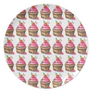 Cute and Fun Chocolate and Raspberry Cupcake Party Plates
