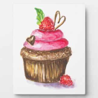 Cute and Fun Chocolate and Raspberry Cupcake Plaque