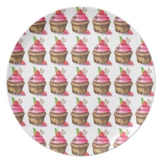 Cute and Fun Chocolate and Raspberry Cupcake Plate