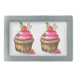 Cute and Fun Chocolate and Raspberry Cupcake Rectangular Belt Buckles