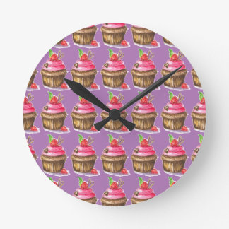 Cute and Fun Chocolate and Raspberry Cupcake Round Clock