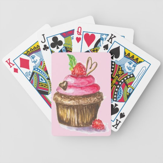 Cute and Fun Chocolate, Raspberry Cupcake Poker Deck