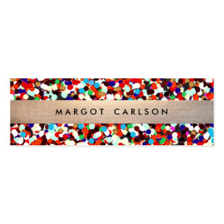 Cute and Fun Cool Colorful Confetti Gold Striped Pack Of Skinny Business Cards