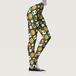 Cute and Fun Different sport theme Pattern Sporty Leggings