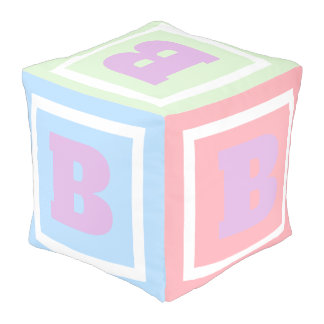 Cute and Fun Pastel Play Cube Theme Monogram Pouf