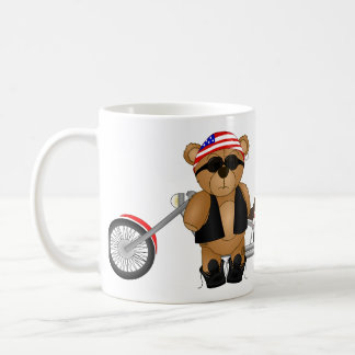 Cute and Fun Teddy Bear Biker Cartoon Mascot Coffee Mug