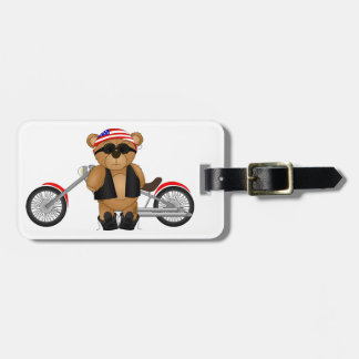 Cute and Fun Teddy Bear Biker Cartoon Mascot Luggage Tag