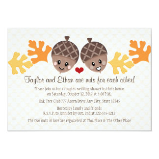 "Cute and Funny Acorn Couples Wedding Shower 5"" X 7"" Invitation Card"