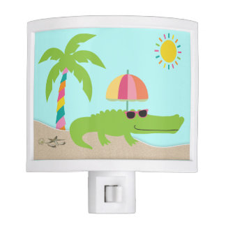 Cute and Funny Alligator Night Light with Palm