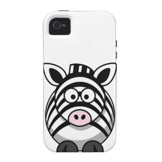 Cute and Funny  Black and White Cartoon Zebra Case-Mate iPhone 4 Covers