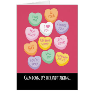 Cute and Funny Candy Hearts Valentine's Day Card