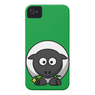 Cute and Funny Cartoon Sheep on Green Background iPhone 4 Case